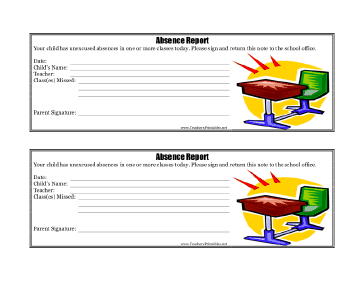 Absence Report Teachers Printable