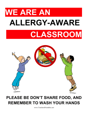 Allergy-Aware Classroom Poster Teachers Printable