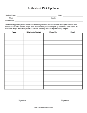 Authorized Pick Up Form Teachers Printable