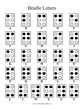 Braille Alphabet Teachers Printable