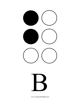 Braille B Teachers Printable