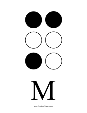 Braille M Teachers Printable