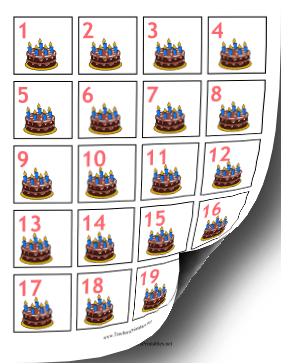 Calendar Dates Birthday Cake Teachers Printable