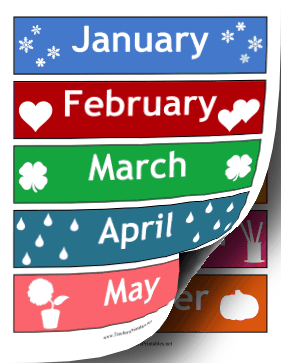 Calendar Months Illustrated Teachers Printable