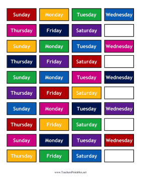 Calendar Small Weekdays Background Teachers Printable