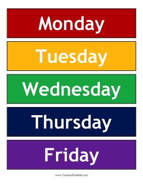 Calendar Weekdays Background Teachers Printable