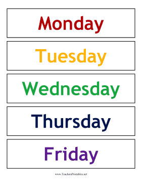 Calendar Weekdays Color Teachers Printable
