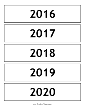 Calendar Years Teachers Printable