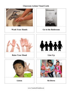 Classroom Actions Visual Cards Teachers Printable