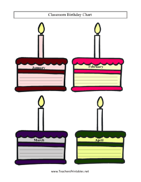 Classroom Birthday Chart Teachers Printable