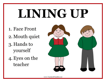 Classroom Lining Up Poster Teachers Printable