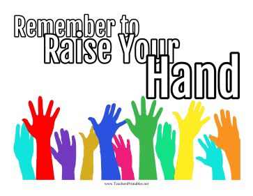 Classroom Raise Hand Poster Teachers Printable