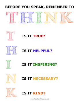 Classroom THINK Poster Teachers Printable