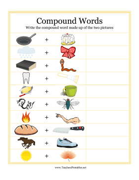 Compound Word Pictures Teachers Printable