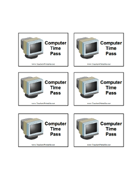 Computer Time Pass Teachers Printable