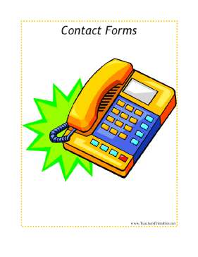 Contact Forms Sub Tub Divider Teachers Printable