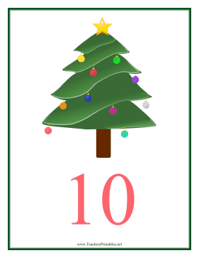 Count Chart 10 Christmas Teachers Printable