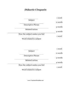 Didactic Cinquain Teachers Printable