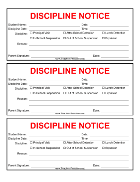 Discipline Notice Teachers Printable
