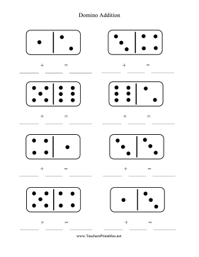Domino Addition Worksheet Teachers Printable