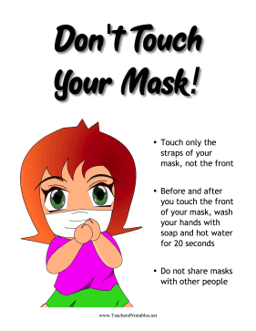 Dont Touch Your Mask Sign Teachers Printable