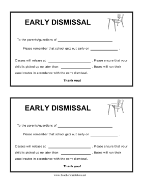 Early Dismissal Reminder Teachers Printable