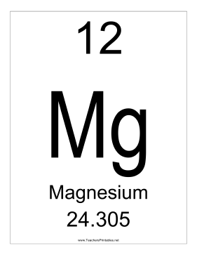 Magnesium Teachers Printable