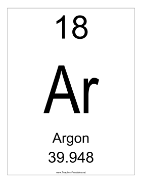 Argon Teachers Printable