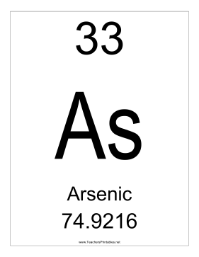 Arsenic Teachers Printable