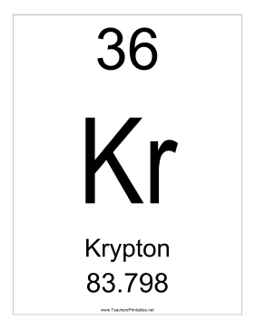 Krypton Teachers Printable