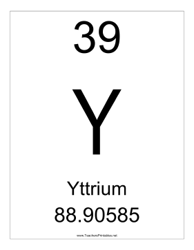 Yttrium Teachers Printable