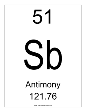 Antimony Teachers Printable