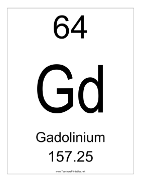 Gadolinium Teachers Printable