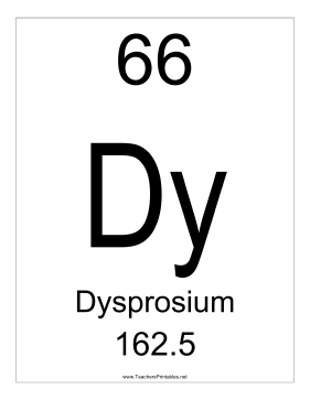 Dysprosium Teachers Printable