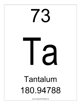 Tantalum Teachers Printable