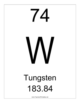 Tungsten Teachers Printable