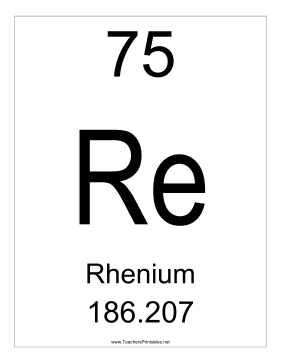 Rhenium Teachers Printable
