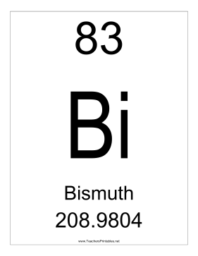Bismuth Teachers Printable