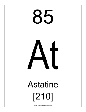 Astatine Teachers Printable