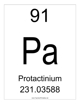 Protactinium Teachers Printable