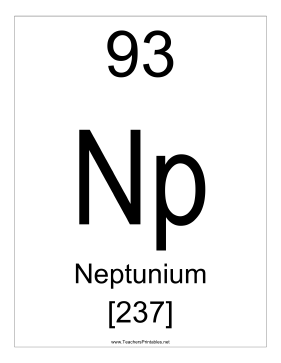 Neptunium Teachers Printable