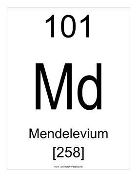 Mendelevium Teachers Printable