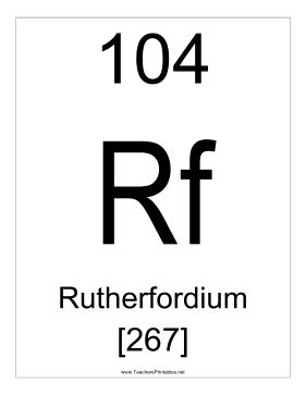 Rutherfordium Teachers Printable