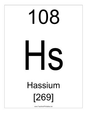 Hassium Teachers Printable