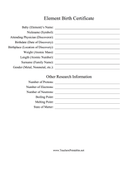 Element Birth Certificate Teachers Printable