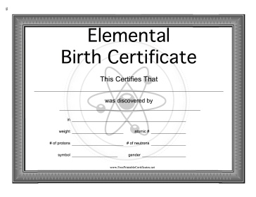 Elemental Birth Certificate Teachers Printable