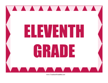 Eleventh Grade Sign Teachers Printable