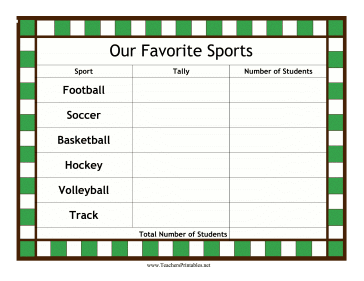 Favorite Sports Tally Teachers Printable
