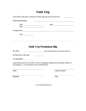 Field Trip Permission Slip Teachers Printable