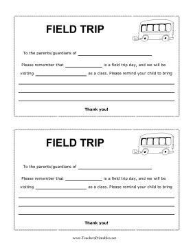 Field Trip Reminder Teachers Printable